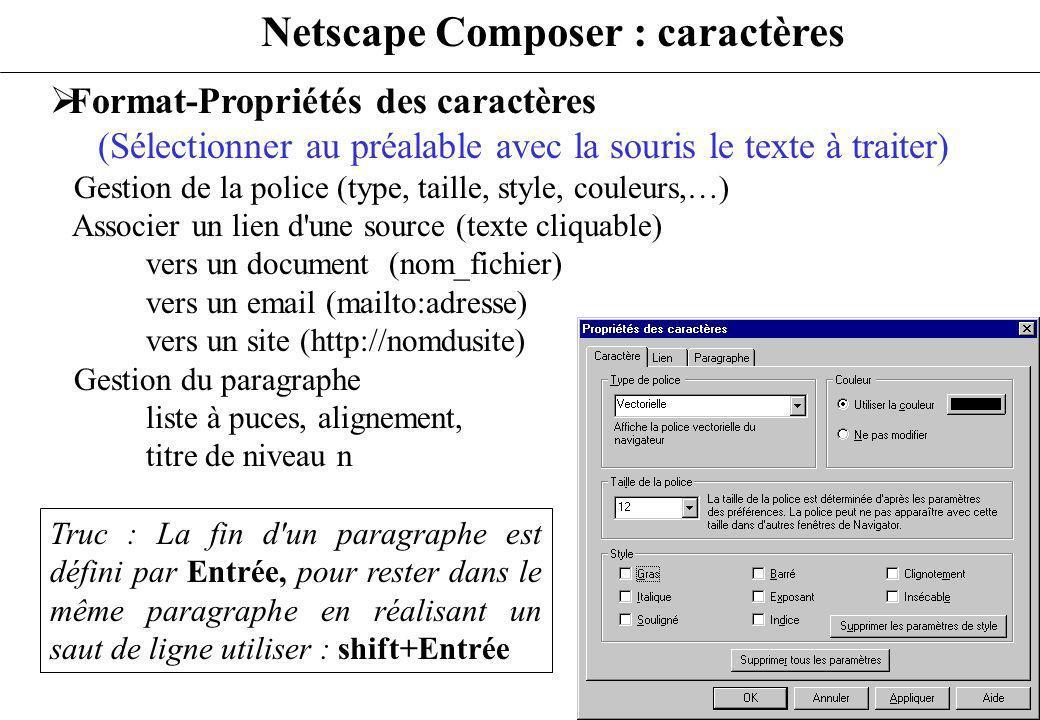 Netscape Composer : caractères Format-Propriétés des caractères (Sélectionner au préalable avec la souris le texte à traiter) Gestion de la police (ty