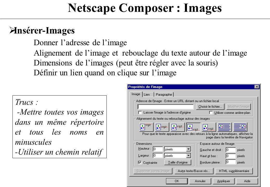 Netscape Composer : Images Insérer-Images Donner ladresse de limage Alignement de limage et rebouclage du texte autour de limage Dimensions de limages