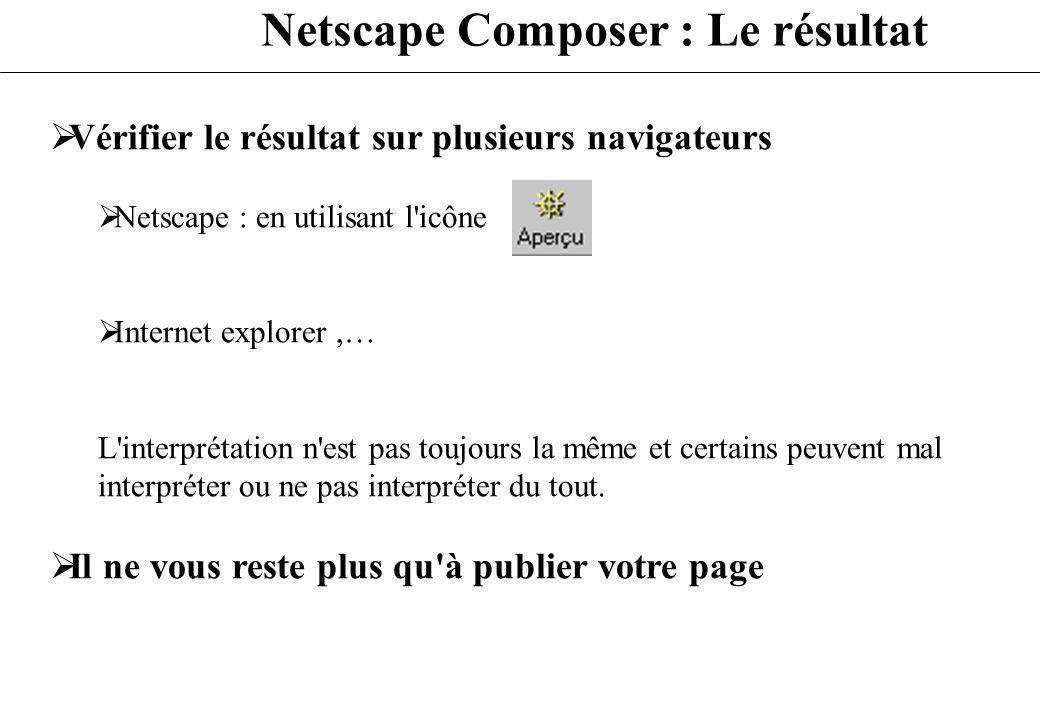 Netscape Composer : Le résultat Vérifier le résultat sur plusieurs navigateurs Netscape : en utilisant l'icône Internet explorer,… L'interprétation n'