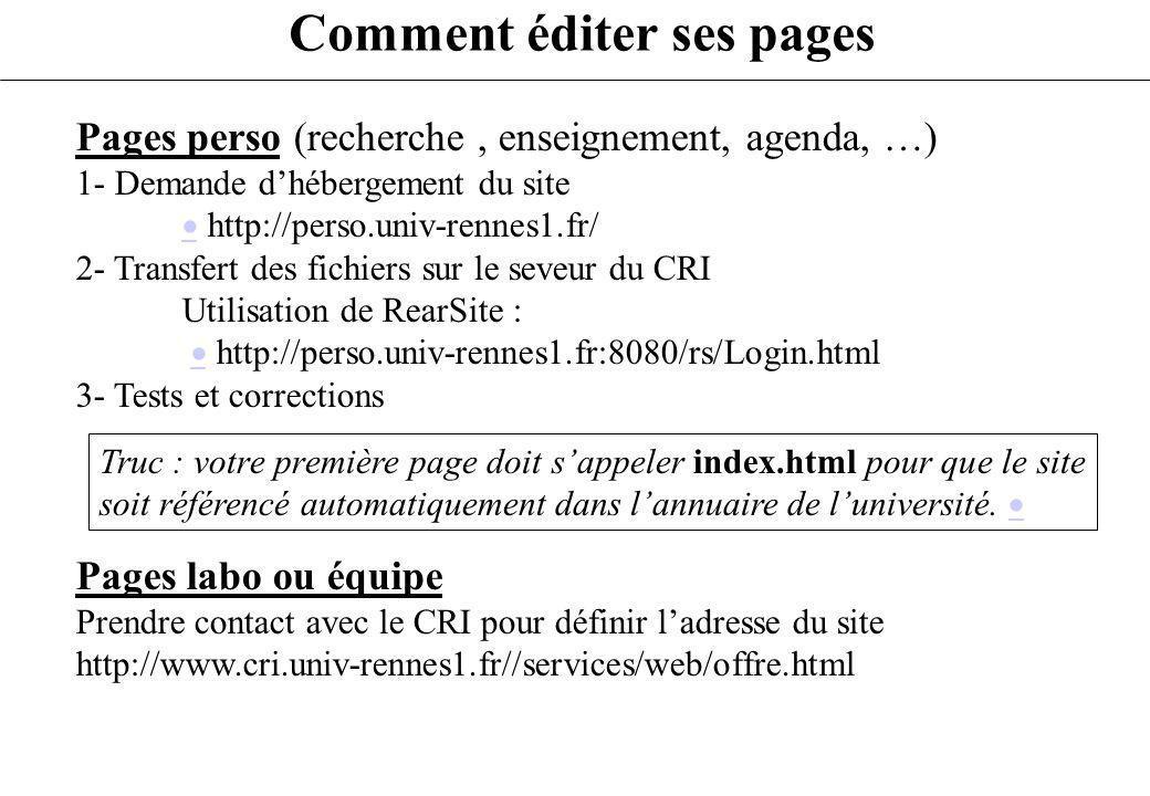 Comment éditer ses pages Pages perso (recherche, enseignement, agenda, …) 1- Demande dhébergement du site http://perso.univ-rennes1.fr/ 2- Transfert d