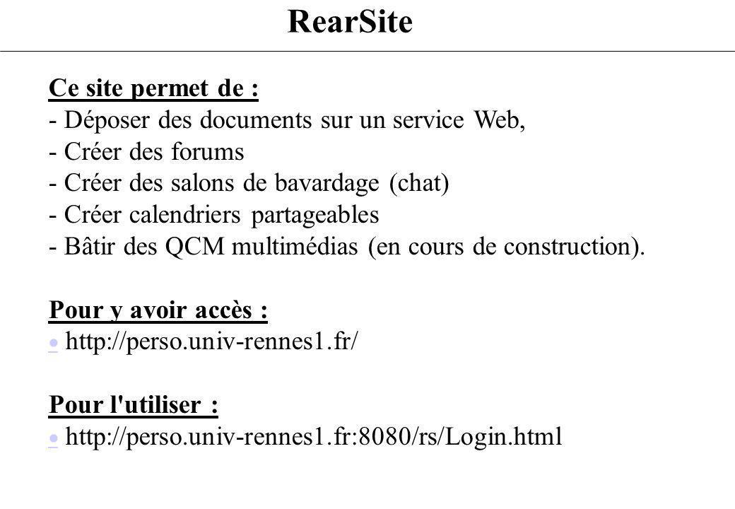 RearSite Ce site permet de : - Déposer des documents sur un service Web, - Créer des forums - Créer des salons de bavardage (chat) - Créer calendriers