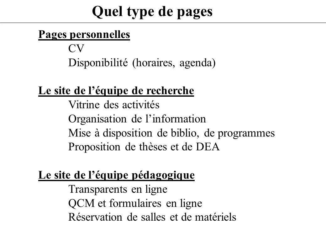 Quel type de pages Pages personnelles CV Disponibilité (horaires, agenda) Le site de léquipe de recherche Vitrine des activités Organisation de linfor