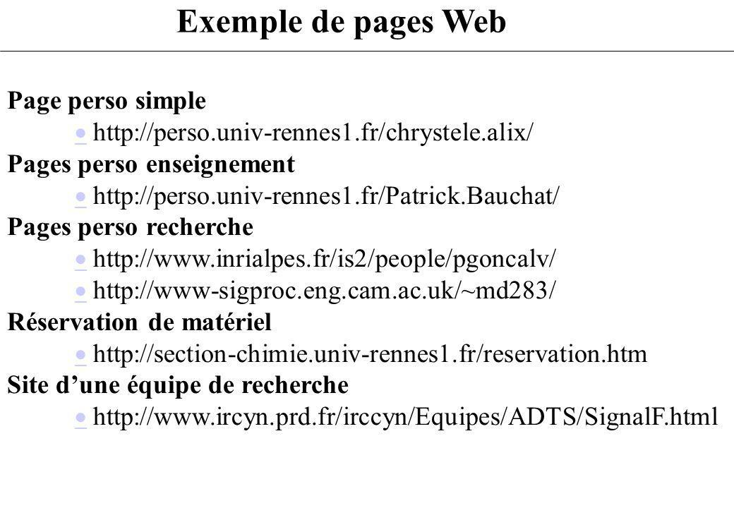Page perso simple http://perso.univ-rennes1.fr/chrystele.alix/ Pages perso enseignement http://perso.univ-rennes1.fr/Patrick.Bauchat/ Pages perso rech