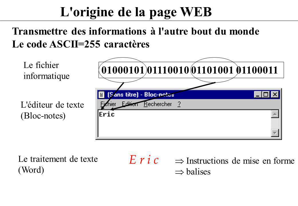 L origine de la page WEB : éditeur simple - Je veux : Eric - Je visualise le résultat à l aide d un navigateur (Netscape) qui interprète le code - Je créé un fichier.HTML Et j utilise des balises de mise en forme Eric