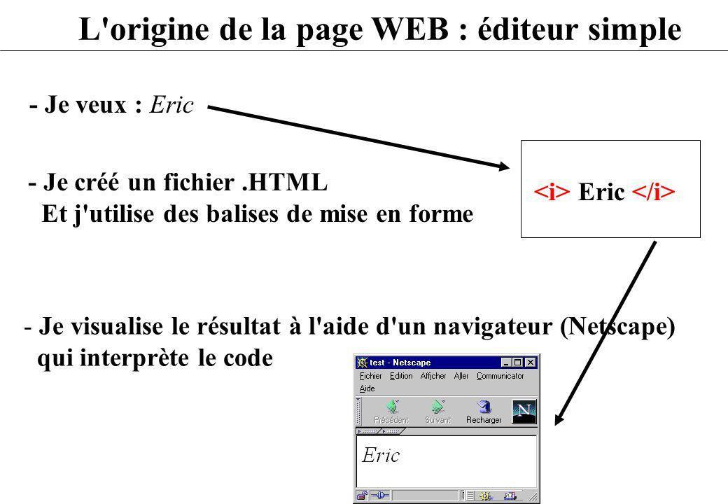 L'origine de la page WEB : éditeur simple - Je veux : Eric - Je visualise le résultat à l'aide d'un navigateur (Netscape) qui interprète le code - Je
