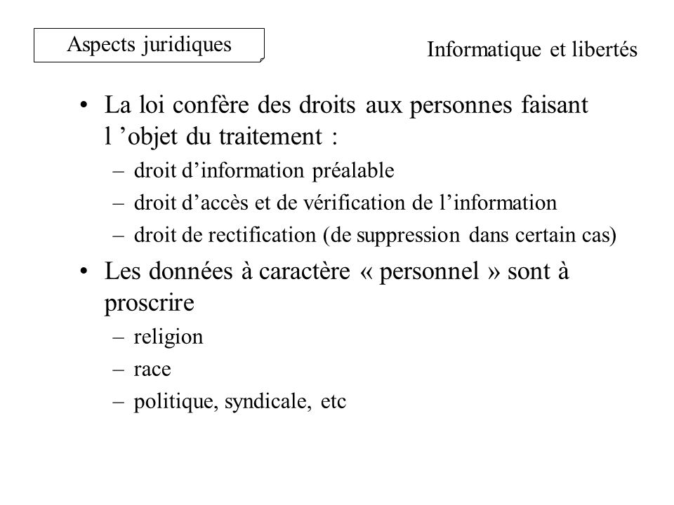 Le code du travail précise: –Proportionnalité / au but recherché (L120-2) –Informer et consulter le CE (L432-2-1) –Assurer la transparence (l 121-8) AVIS CNIL: le contrôle doit être –Loyal –Impartial –Limiter à la fonction, –Ne pas découler dinitiatives personnelles.
