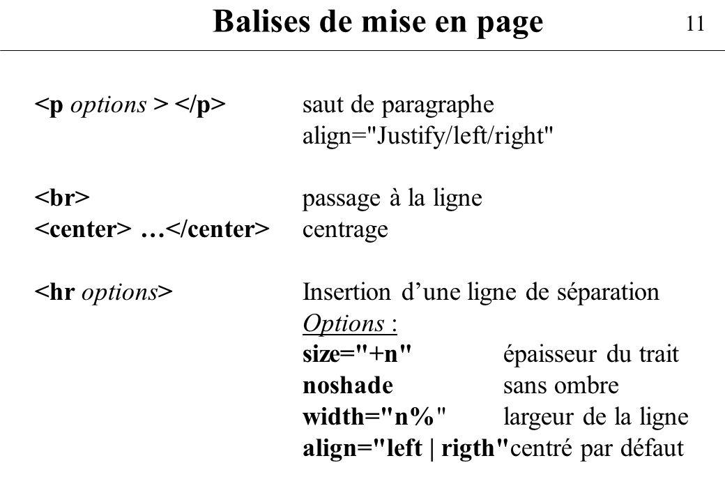 11 Balises de mise en page saut de paragraphe align=