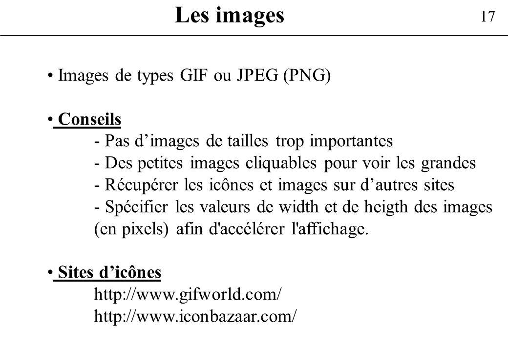 17 Les images Images de types GIF ou JPEG (PNG) Conseils - Pas dimages de tailles trop importantes - Des petites images cliquables pour voir les grand
