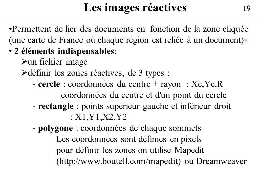 19 Les images réactives Permettent de lier des documents en fonction de la zone cliquée (une carte de France où chaque région est reliée à un document