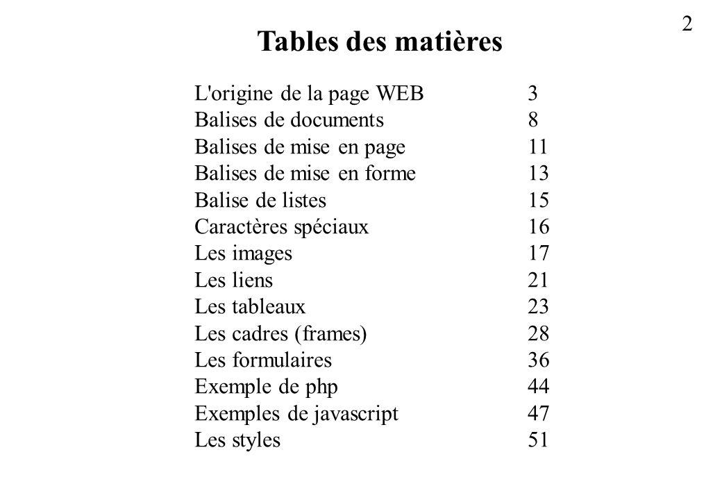 2 L'origine de la page WEB3 Balises de documents8 Balises de mise en page11 Balises de mise en forme13 Balise de listes15 Caractères spéciaux16 Les im