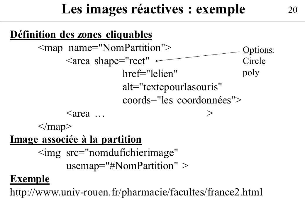 20 Les images réactives : exemple Définition des zones cliquables <area shape=