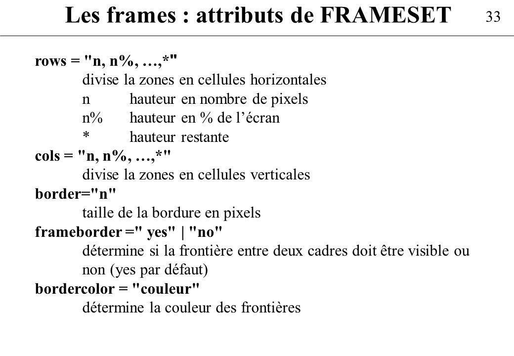 33 Les frames : attributs de FRAMESET rows =