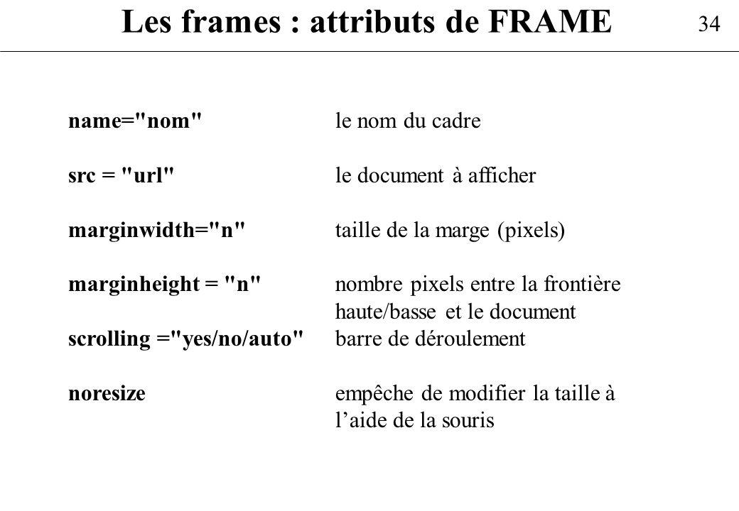 34 Les frames : attributs de FRAME name=