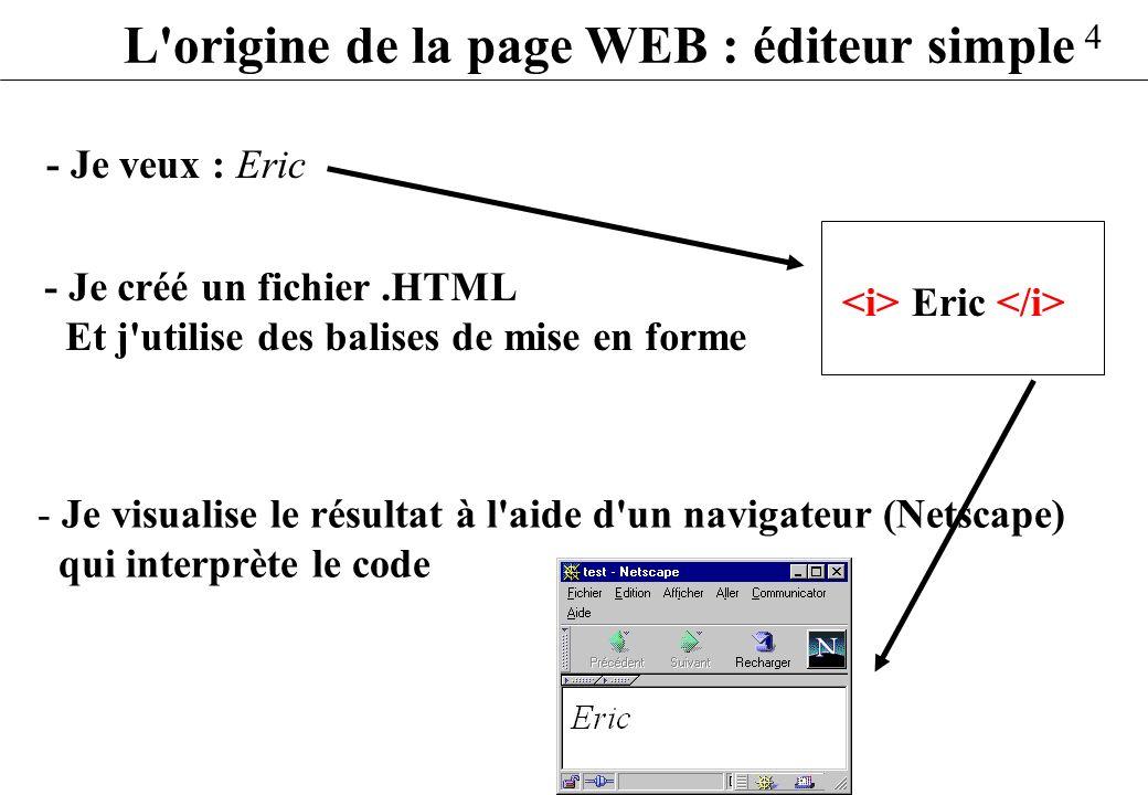 4 L'origine de la page WEB : éditeur simple - Je veux : Eric - Je visualise le résultat à l'aide d'un navigateur (Netscape) qui interprète le code - J
