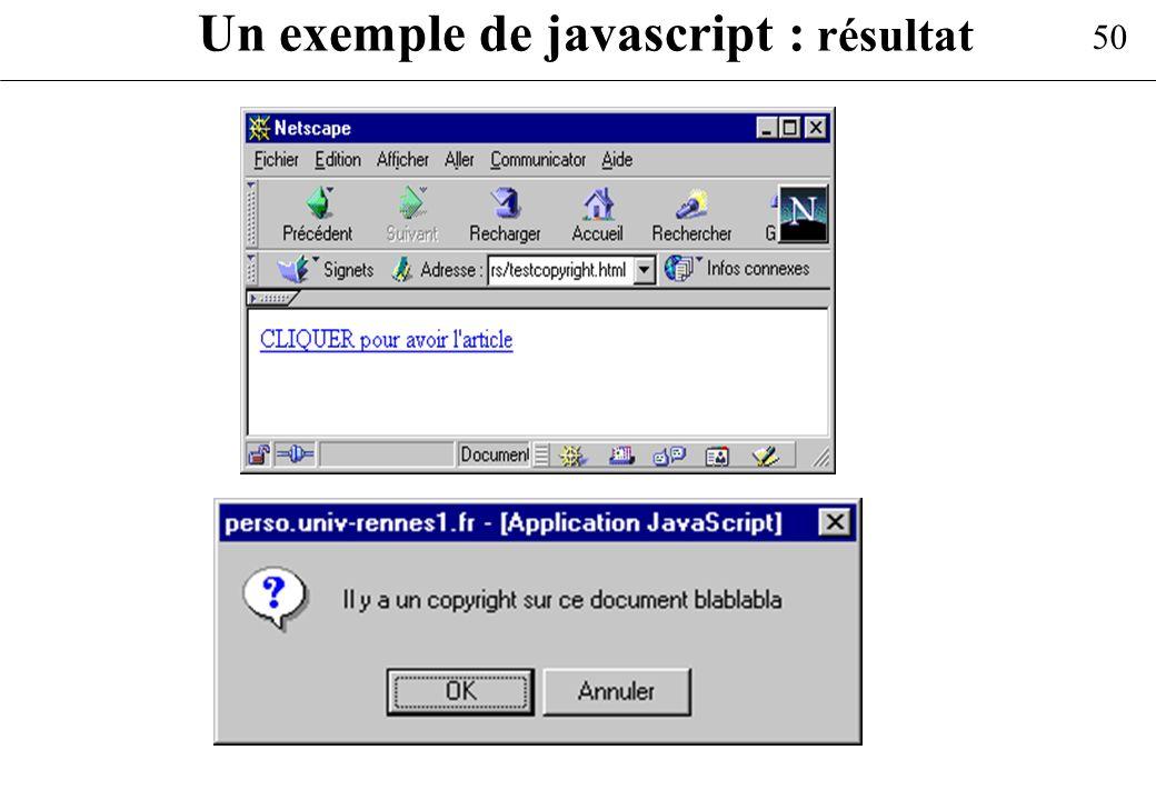 50 Un exemple de javascript : résultat