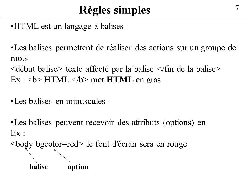 7 Règles simples HTML est un langage à balises Les balises permettent de réaliser des actions sur un groupe de mots texte affecté par la balise Ex : H