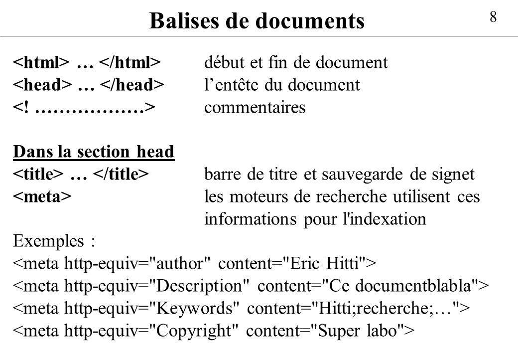 8 Balises de documents … début et fin de document … lentête du document commentaires Dans la section head … barre de titre et sauvegarde de signet les