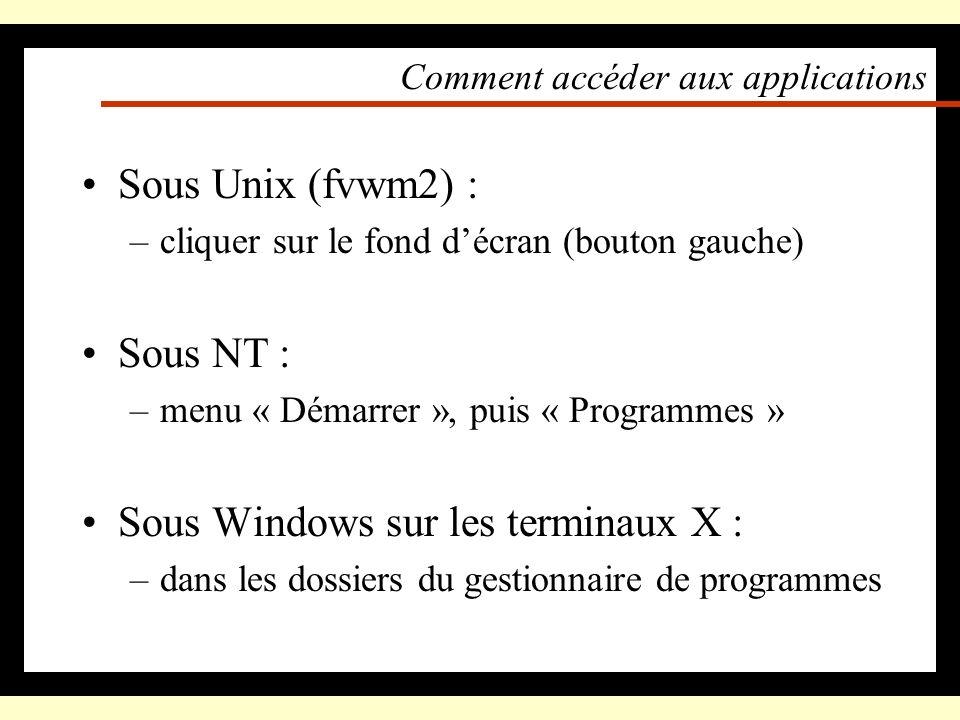 Comment se connecter Unix, NT : –entrer son login et son mot de passe Windows sur les terminaux X : –entrer son login et son mot de passe Le domaine d