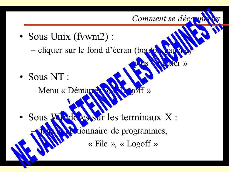 Comment accéder aux applications Sous Unix (fvwm2) : –cliquer sur le fond décran (bouton gauche) Sous NT : –menu « Démarrer », puis « Programmes » Sou