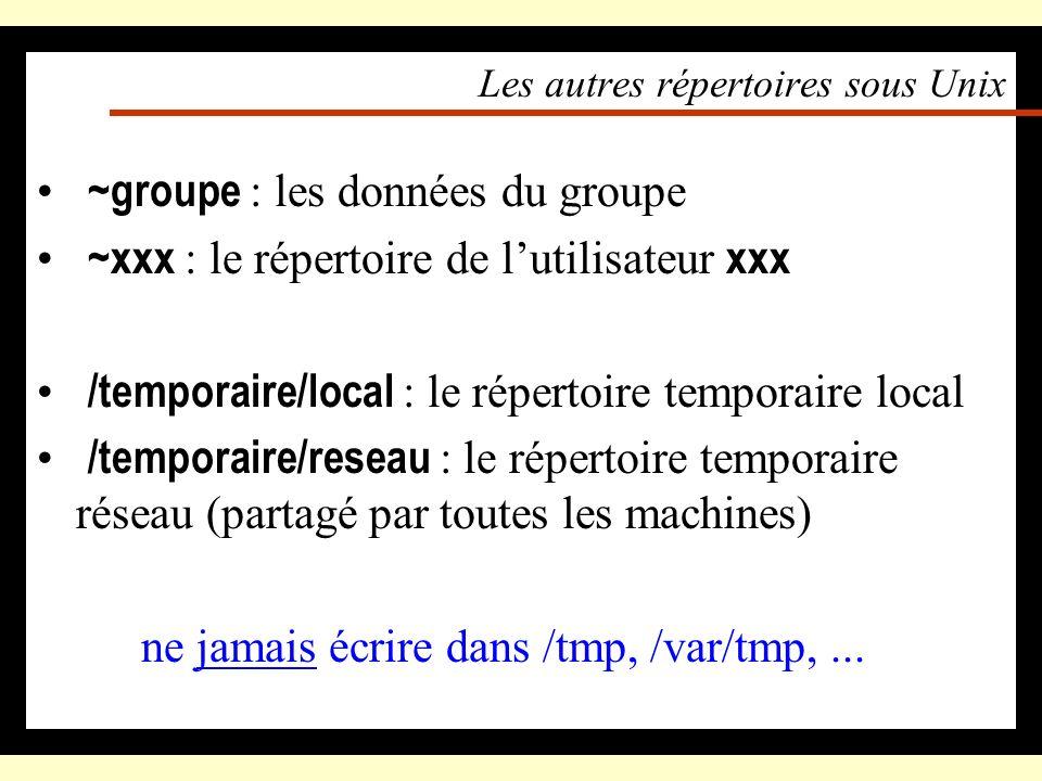 Les autres répertoires sous NT \\serveur\groupe ou G: : les données du groupe \\serveur\xxx : le répertoire de lutilisateur xxx –Menu « Démarrer », «