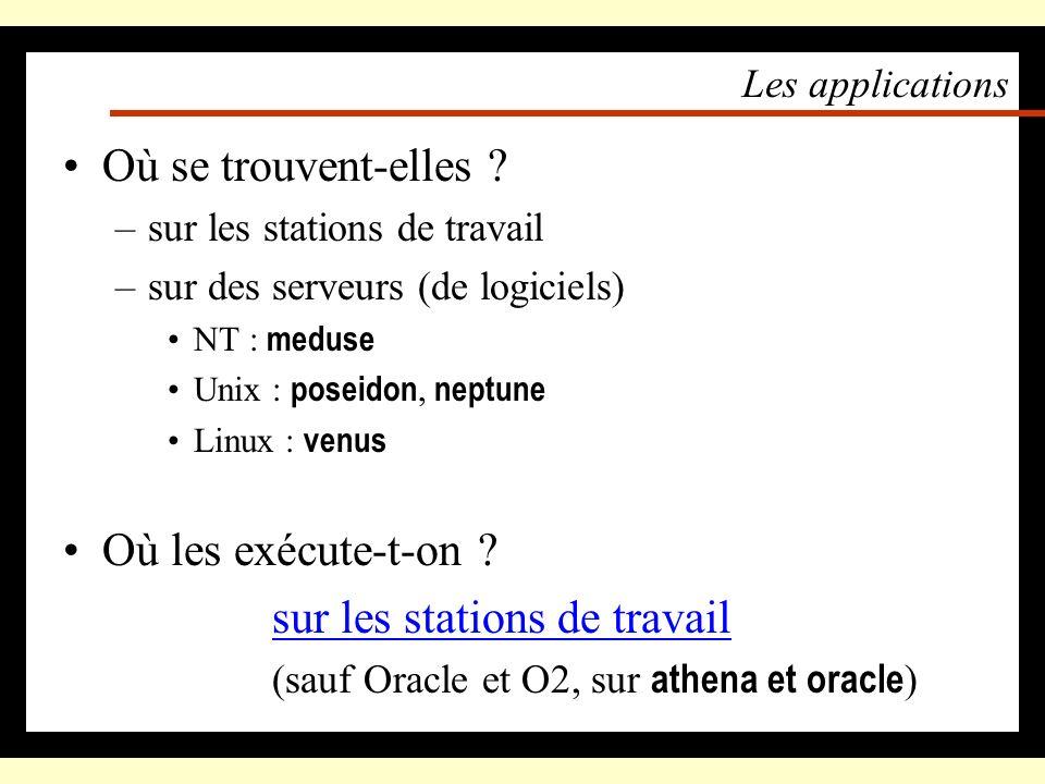 Les quotas disque (suite) Comment connaître sa consommation ? –Sous NT : « Démarrer », « Programmes », « Consultation des quotas » –Sous Unix : le pro