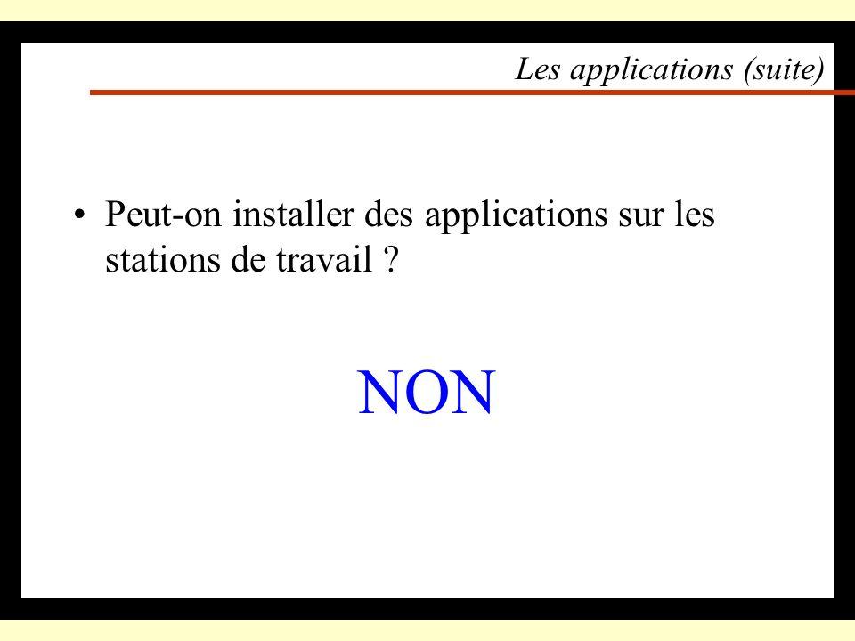 Les applications : pourquoi exécuter en local Une exception : les terminaux X CPU Disk Station de travail Disk répertoires daccueil CPU Disk serveur d