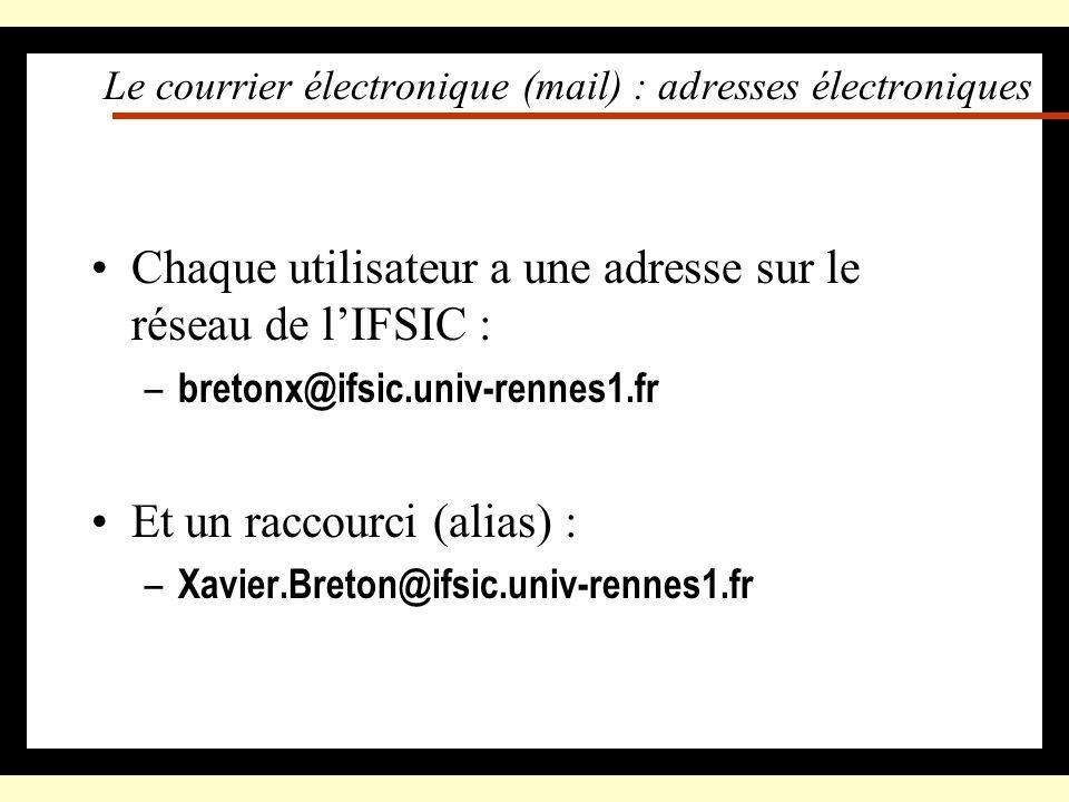 Le courrier électronique (mail) : loutil de communication Il faut lutiliser –il est facilement classable –on peut léditer, réutiliser les courriers –c