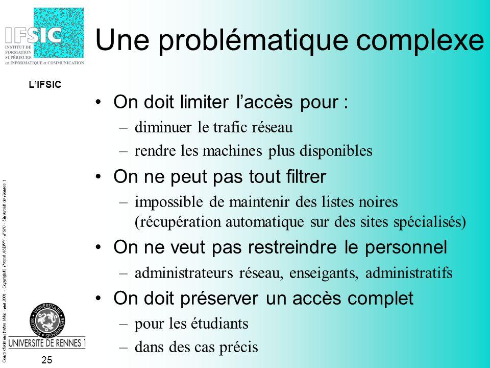 Cours d administration Web - juin 2001 - Copyright© Pascal AUBRY - IFSIC - Université de Rennes 1 24 Accès à linternet depuis lIFSIC Une problématique complexe –on doit limiter laccès à linternet –on ne peut pas tout filtrer –on ne veut pas restreindre le personnel –on doit préserver un accès complet La solution mise en oeuvre –un découpage en quatre zones –une bonne lisibilité –un bon compromis LIFSIC