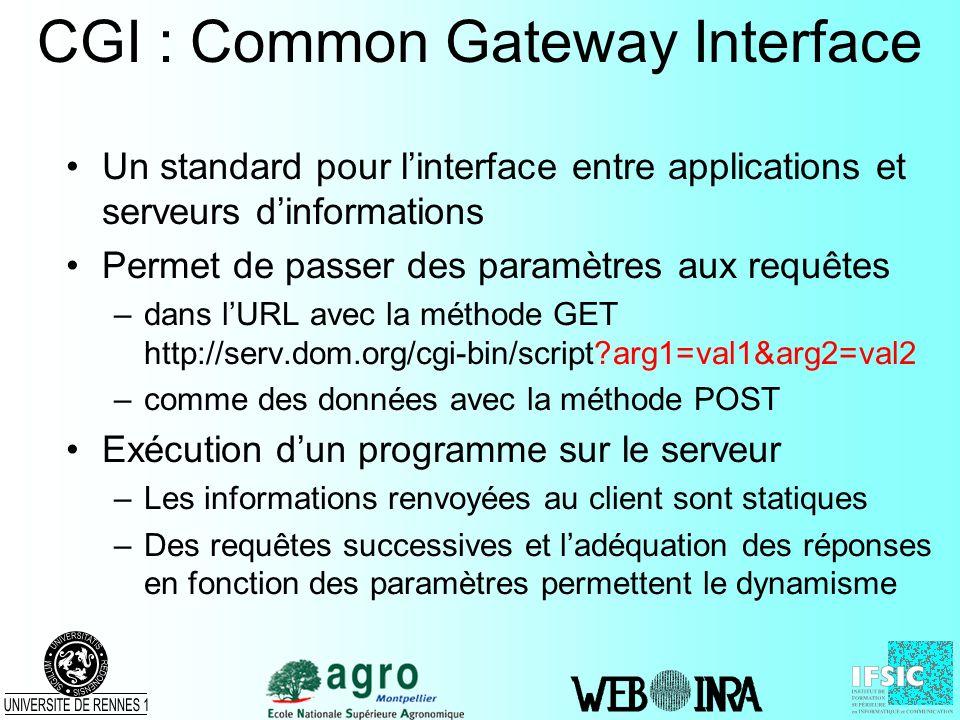 CGI : Common Gateway Interface Un standard pour linterface entre applications et serveurs dinformations Permet de passer des paramètres aux requêtes –