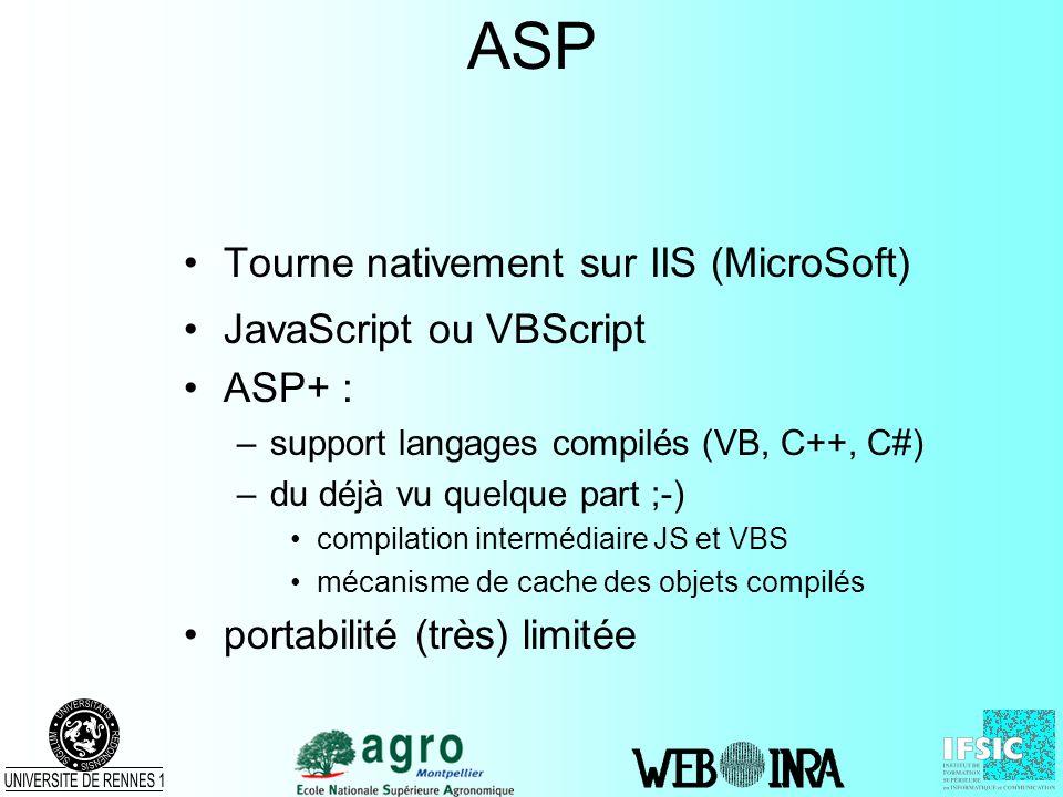 ASP Tourne nativement sur IIS (MicroSoft) JavaScript ou VBScript ASP+ : –support langages compilés (VB, C++, C#) –du déjà vu quelque part ;-) compilat