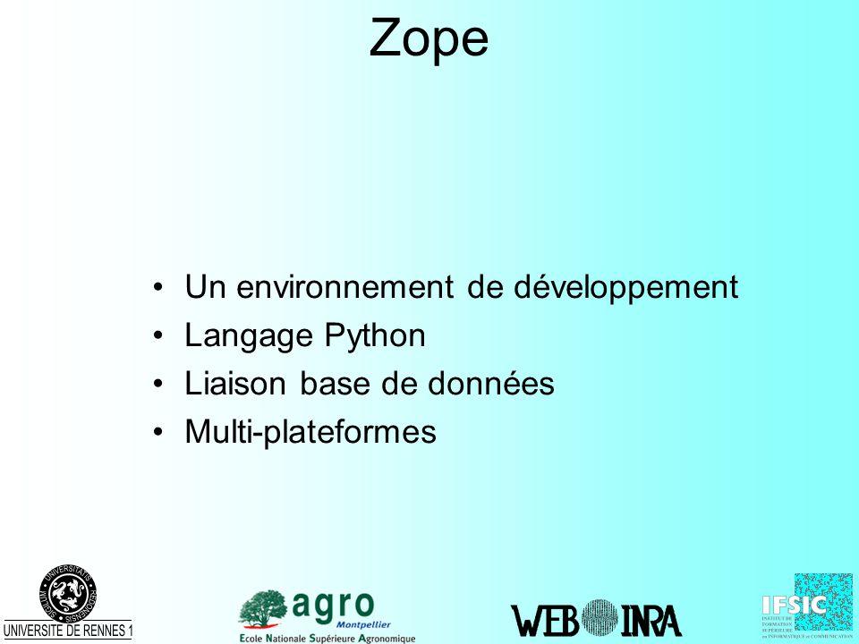 Zope Un environnement de développement Langage Python Liaison base de données Multi-plateformes