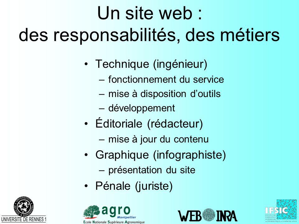 Un site web : des responsabilités, des métiers Technique (ingénieur) –fonctionnement du service –mise à disposition doutils –développement Éditoriale