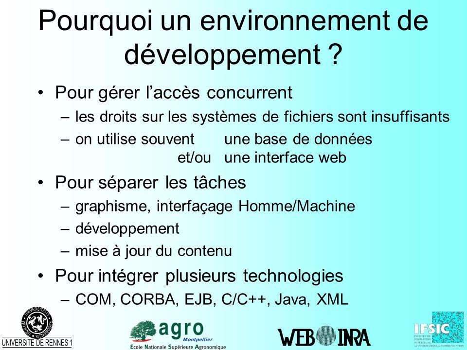 Pourquoi un environnement de développement ? Pour gérer laccès concurrent –les droits sur les systèmes de fichiers sont insuffisants –on utilise souve