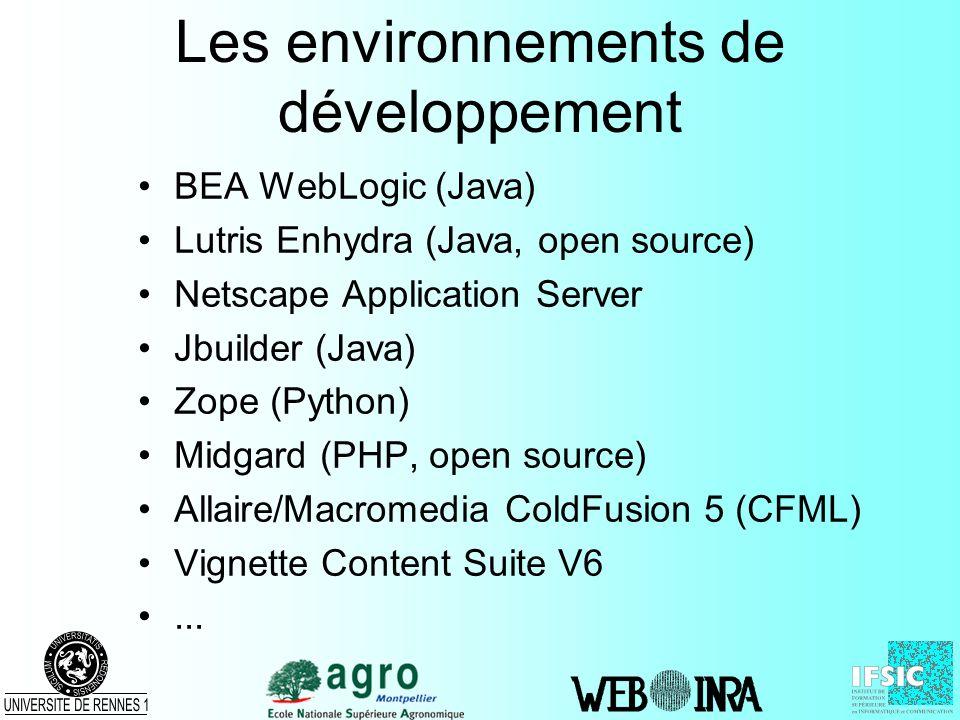 Les environnements de développement BEA WebLogic (Java) Lutris Enhydra (Java, open source) Netscape Application Server Jbuilder (Java) Zope (Python) M