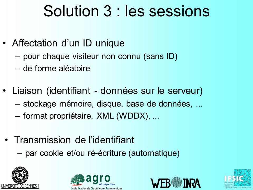 Solution 3 : les sessions Affectation dun ID unique –pour chaque visiteur non connu (sans ID) –de forme aléatoire Liaison (identifiant - données sur l