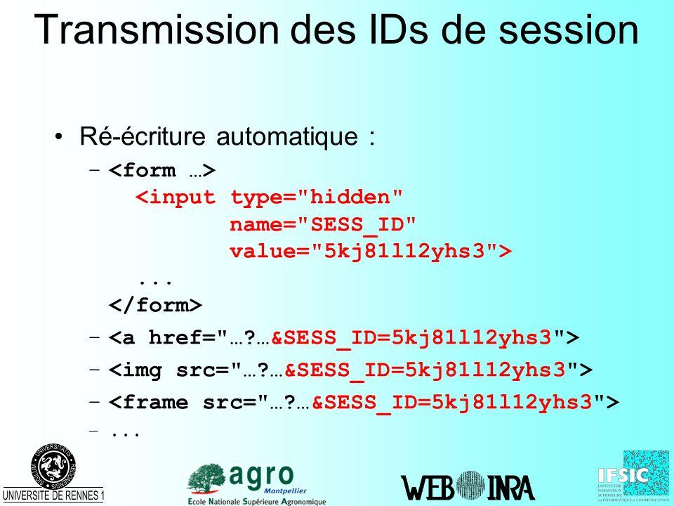Transmission des IDs de session Ré-écriture automatique : –... – –...