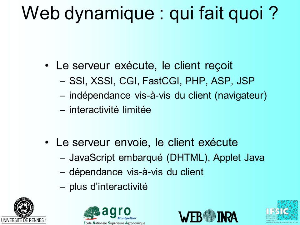 Web dynamique : qui fait quoi ? Le serveur exécute, le client reçoit –SSI, XSSI, CGI, FastCGI, PHP, ASP, JSP –indépendance vis-à-vis du client (naviga