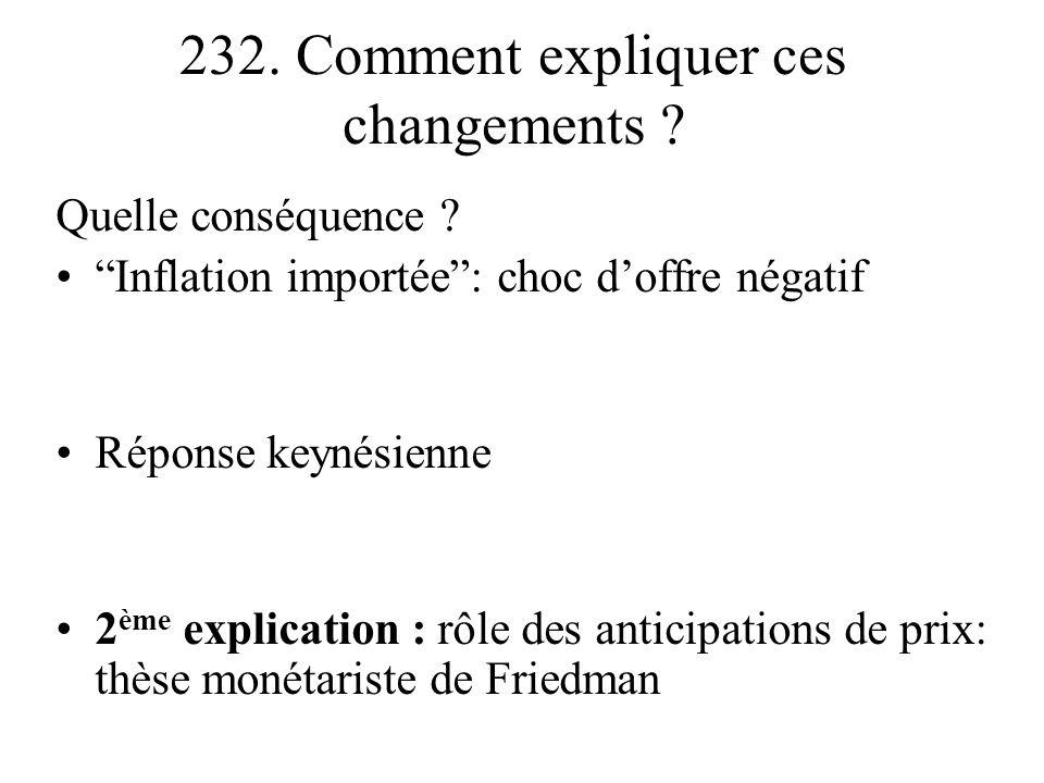 232. Comment expliquer ces changements ? Quelle conséquence ? Inflation importée: choc doffre négatif Réponse keynésienne 2 ème explication : rôle des