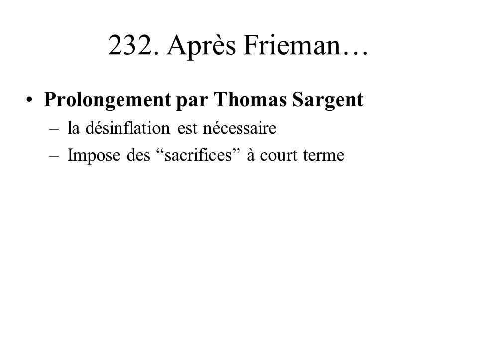 232. Après Frieman… Prolongement par Thomas Sargent –la désinflation est nécessaire –Impose des sacrifices à court terme