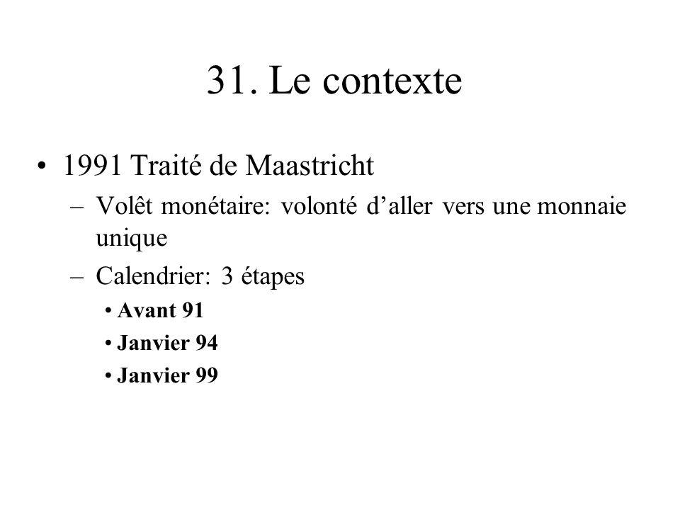 31. Le contexte 1991 Traité de Maastricht –Volêt monétaire: volonté daller vers une monnaie unique –Calendrier: 3 étapes Avant 91 Janvier 94 Janvier 9