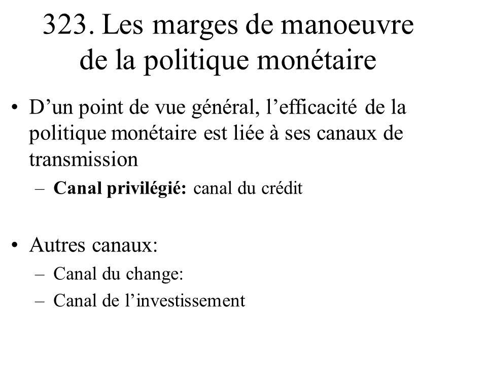 Dun point de vue général, lefficacité de la politique monétaire est liée à ses canaux de transmission –Canal privilégié: canal du crédit Autres canaux