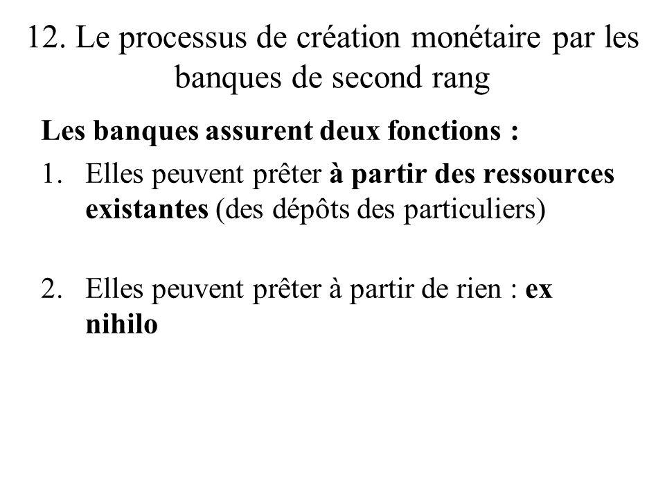12. Le processus de création monétaire par les banques de second rang Les banques assurent deux fonctions : 1.Elles peuvent prêter à partir des ressou
