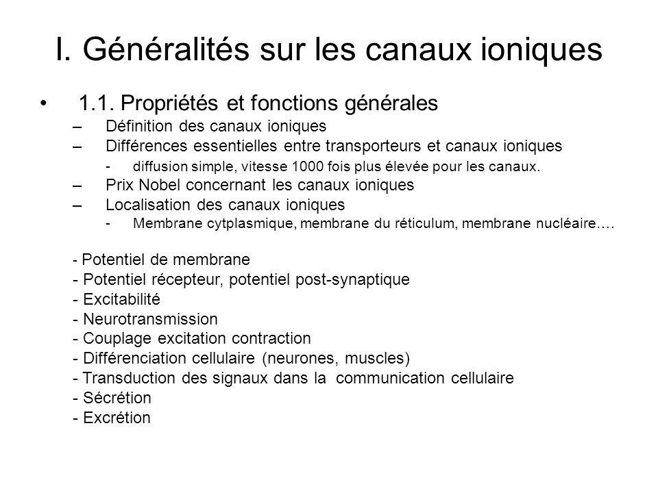 I. Généralités sur les canaux ioniques 1.1. Propriétés et fonctions générales –Définition des canaux ioniques –Différences essentielles entre transpor