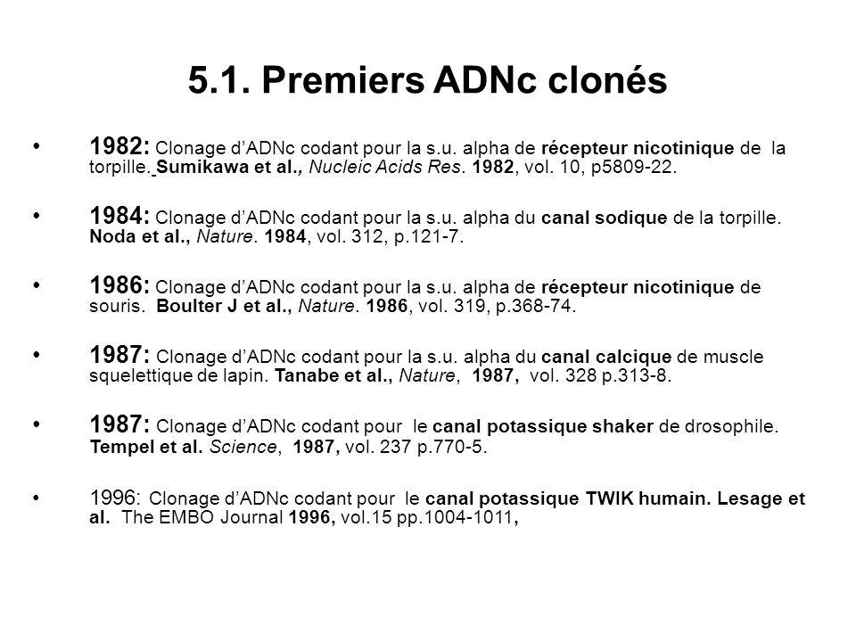 5.1. Premiers ADNc clonés 1982: Clonage dADNc codant pour la s.u. alpha de récepteur nicotinique de la torpille. Sumikawa et al., Nucleic Acids Res. 1