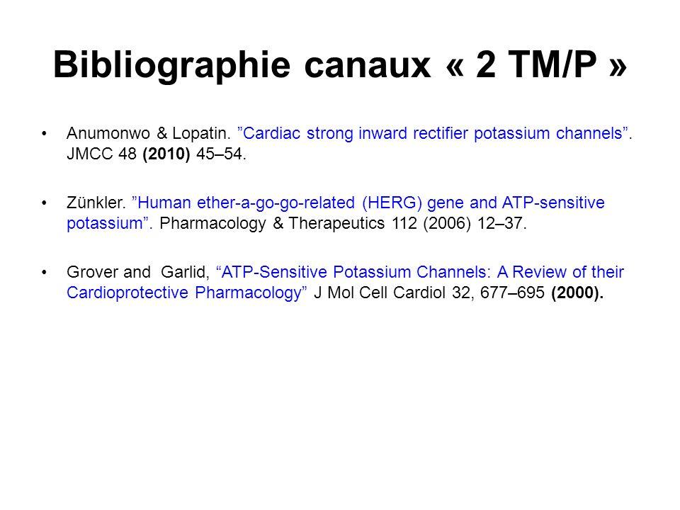 Bibliographie canaux « 2 TM/P » Anumonwo & Lopatin. Cardiac strong inward rectifier potassium channels. JMCC 48 (2010) 45–54. Zünkler. Human ether-a-g