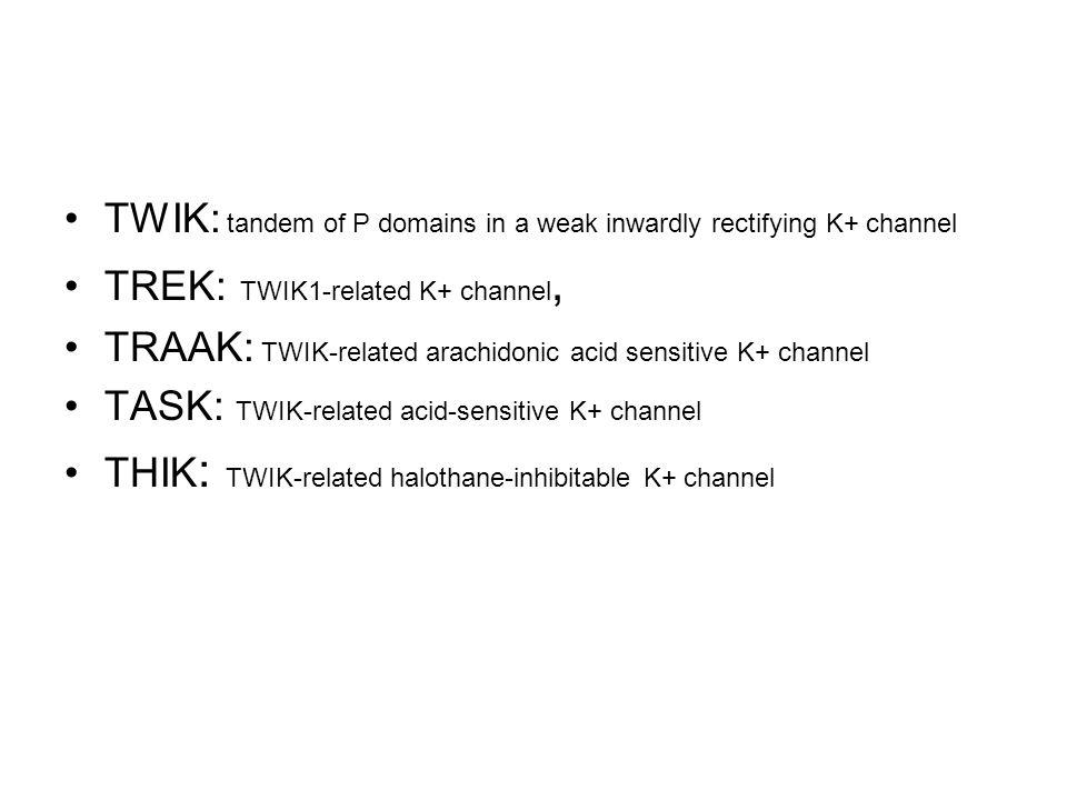 TWIK: tandem of P domains in a weak inwardly rectifying K+ channel TREK: TWIK1-related K+ channel, TRAAK: TWIK-related arachidonic acid sensitive K+ c