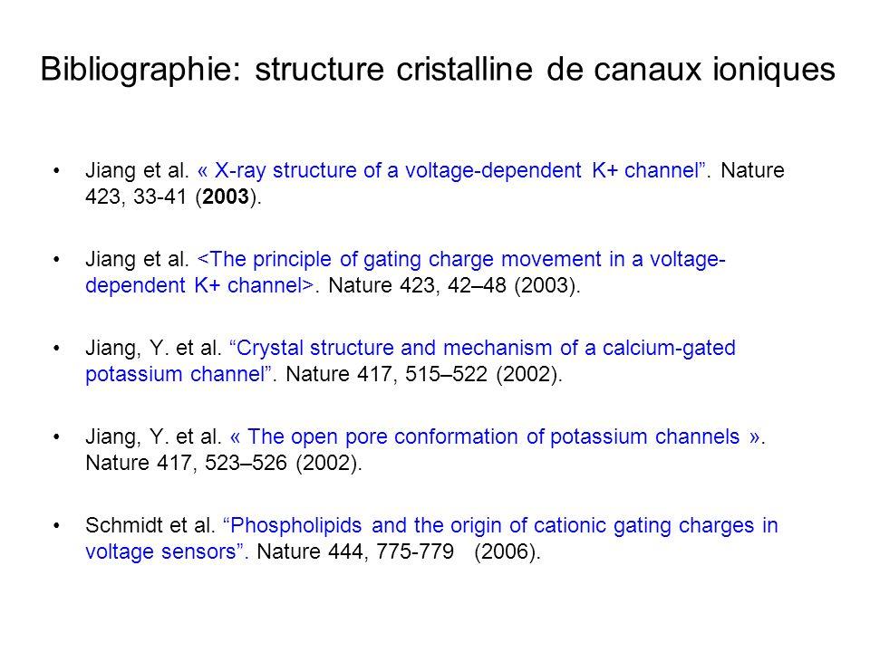 Bibliographie: structure cristalline de canaux ioniques Jiang et al. « X-ray structure of a voltage-dependent K+ channel. Nature 423, 33-41 (2003). Ji