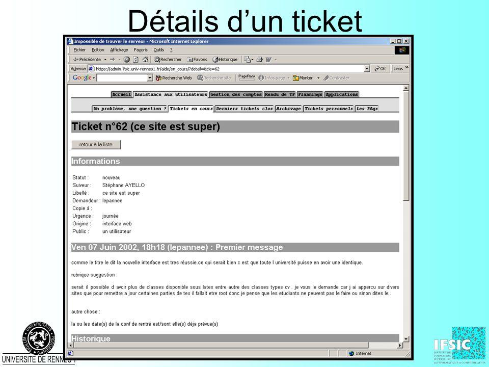Détails dun ticket