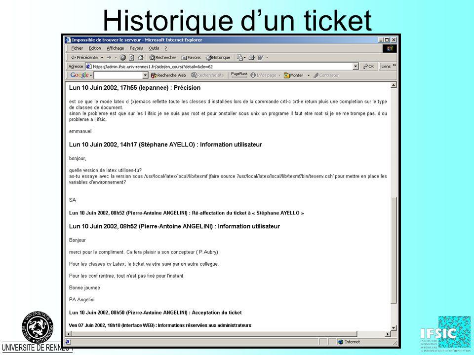 Historique dun ticket