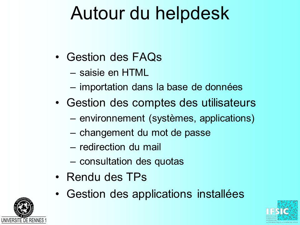 Autour du helpdesk Gestion des FAQs –saisie en HTML –importation dans la base de données Gestion des comptes des utilisateurs –environnement (systèmes